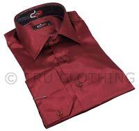 Mens Italian Design Maroon Silk Satin Finish Shirt Smart Slim Fit