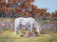 Frances Fry Oil Painting - Pony (Horse) & Foal By A Stone Wall & Beech Hedge