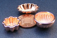 1:12 Scale 3 Metal Jelly Moulds Dolls House Miniature Kitchen Food Accessories