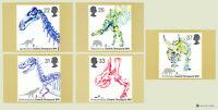 1991 Dinosaurs Cards PHQ 137 - Mint Set of 5 Royal Mail Post Cards