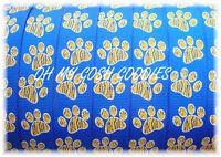 7/8 ROYAL BLUE GOLD TIGER STRIPE PAW CHEER GROSGRAIN RIBBON 4 BOW FOOTBALL 5YD