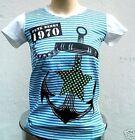 PIRATA ANCLA STAR MARINERO PUNK FALDA Rayas Camiseta T-Shirt S-M