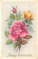 CP ILLUSTREE HEUREUX ANNIVERSAIRE ROSES ROSES JAUNE