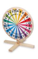 Glücksrad aus Holz für Lotteriespiele Wortspiele Spiele Zahlen Buchstaben NEU