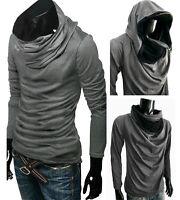 GRAY Hoodie Cowl NEck long sleeve Shirt top tee cotton BLACK Hood S M L XL XXL