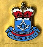 queen elizabeth II diamond jubilee freemason enamel badge masonic masonry