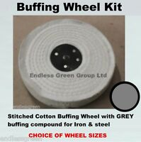 1st stage Iron & Steel Polishing Kit - Stitched Cotton Buffing Wheel & Grey Bar
