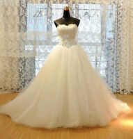 New Stock White/ivory Wedding dress Bridal Gown custom size 6 8 10 12 14 16 18