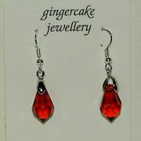 SMALL FACETED RICH BROWN GLASS DROP SILVER PLATED DROP EARRINGS HOOK FASTENER