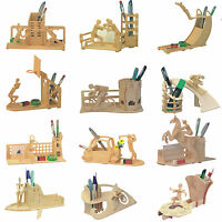 Kids Child's DIY 3D Puzzle Kit Wooden Craft Model Jigsaw Pen Container Toy Gift
