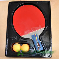 double fish 5a-e Ping Pong Paddle Table Tennis Racket Short Professional 2 balls