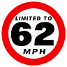 120MM LIMITED TO 62MPH STICKER VAN BUS CAR COACH BUSINESS PSV