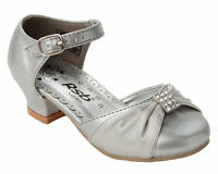 NEW GIRLS SILVER DIAMANTE BRIDESMAID PARTY WEDDING SANDALS SHOES UK SIZE 8-3