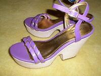 New Kate Spade Wedge Platform Ankle Strap Sandal Heel Shoes Purple/Gold Size 6