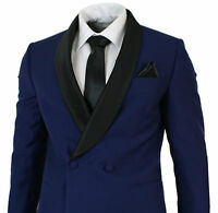 Mens Blue Double Breasted Slim Fit Tuxedo Suit Black Shawl Collar Wedding Prom