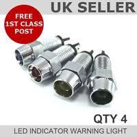 LED Chrome Dash Indicator Warning Light 12v *QTY 4*
