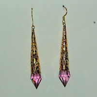 PURPLE VICTORIAN STYLE EARRINGS GOLD PLATED FILIGREE ACRYLIC 7CM