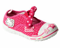 GIRLS HELLO KITTY PINK CANVAS DOLLY PUMPS SHOES TRAINERS INFANTS UK SIZE 4-10