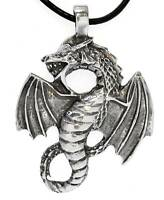 GOTHIC DRAGON Silver Pewter Pendant Leather Necklace