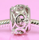 SOLID Sterling Silver CROWN HEART Bead with 6pcs Sparkling Cz For Charm Bracelet