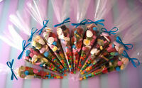 Pre Filled Party Cones Retro Sweets GirlsBoys Childrens Birthday Loot Cello Bags