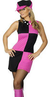 Swinging 60s 70s Sixties Ladies Womens Fancy Dress Costume Outfit & Hat 30194