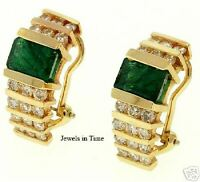 Earrings Ladies 14k Yellow Gold Diamond & Emerald