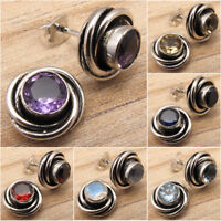 SPIRAL KNOT Studs !! 925 Silver Plated AMETHYST & Other Gemstone Choice Earrings