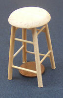 1:12 Scale Natural Finish Tall Stool Dolls House Miniature Furniture Accessory w