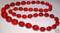 Rare Vintage Bakelite Marbled Cherry Red Amber Necklace