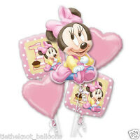 AGE 1 1ST BIRTHDAY BABY MINNIE MOUSE 5 FOIL BALLOON BOUQUET CLUSTER