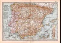 1903 MAP ~ SPAIN PORTUGAL ANDORRA~ INSET GIBRALTAR CANARY ISLANDS MADEIRA AZORES