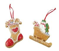 Gisela Graham Christmas Tree Decorations - Gingerbread Stocking and Sleigh