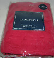 Lands End Red Victoria Holly Berry Matelasse Standard Pillow Cover Sham New