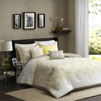7pc Yellow Taupe 200TC Comforter Set Shams Bed Skirt AND Pillows