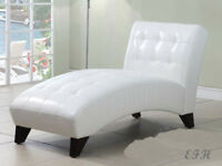 NEW ANNA TUFTED LOUNGER WHITE BLACK BYCAST LEATHER CHAISE ACCENT CHAIR