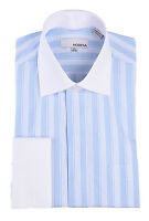 Mens Blue Striped With White Contrast Collar & French Cuff Dress Shirt