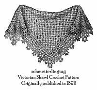 Victorian Dickensian Shawl Pattern Crochet 1881 Reenactment DIY