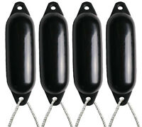 4 X MAJONI BLACK BOAT FENDERS (INFLATED) - SIZE1 + FREE ROPE