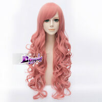80CM Pink Long Curly Basic Heat Resistant Cosplay Wig +Free Cap