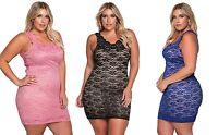 LADIES BLACK PINK BLUE FLORAL LACE BODYCON EVENING DRESS PLUS SIZE 14 16 18 20