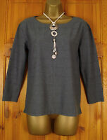 NEW EX WHITE STUFF GREY CAMOMILE YELLOW TEXTURED RELAXED FIT COTTON BLEND TOP