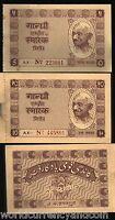 INDIA 5 + 10 RUPEES 1951 GANDHI CASH KHADI VILLAGE SMARAK UNC SET 2 PCS FreeShip