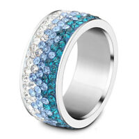 Stylish Stainless Steel Silver Crystal Rhinestone Ring Unisex Wedding Band Rings