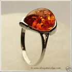 CAPTIVATING GENUINE BALTIC AMBER 925 STERLING SILVER RING SIZE 10