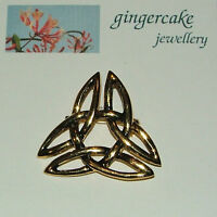 LOVELY LARGE CELTIC KNOT BROOCH GOLD PLATED