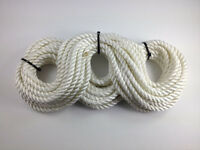 3 Strand White Polyester Rope 26m x 10mm Boat Mooring Fender Rope Anchor Z275