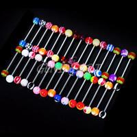30Pcs Lots Color Ball Tongue Bars Barbell Nipple Bar Ring Jewelry Body Piercing
