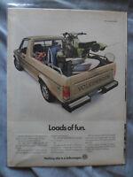 1982 Print Ad Volkswagen VW Pickup Truck Loads of Fun