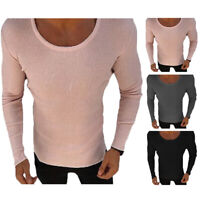 US Men Long Sleeve Knitted Jumper Pullover Crew Neck Blouse Knitwear Sweater New